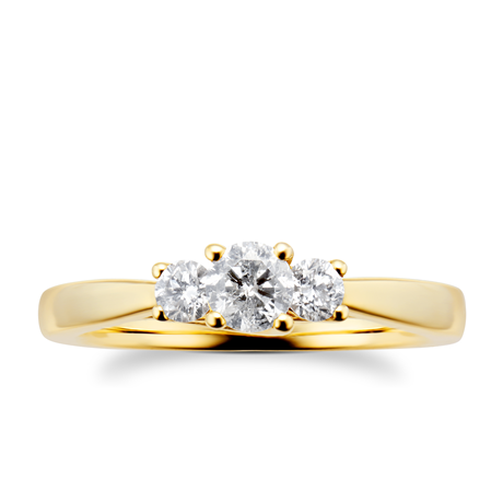 18ct Yellow Gold 0.50cttw Diamond Three Stone Ring