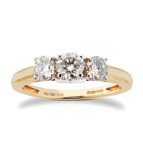 18ct Yellow Gold 1.00cttw 3 stone Diamond Ring