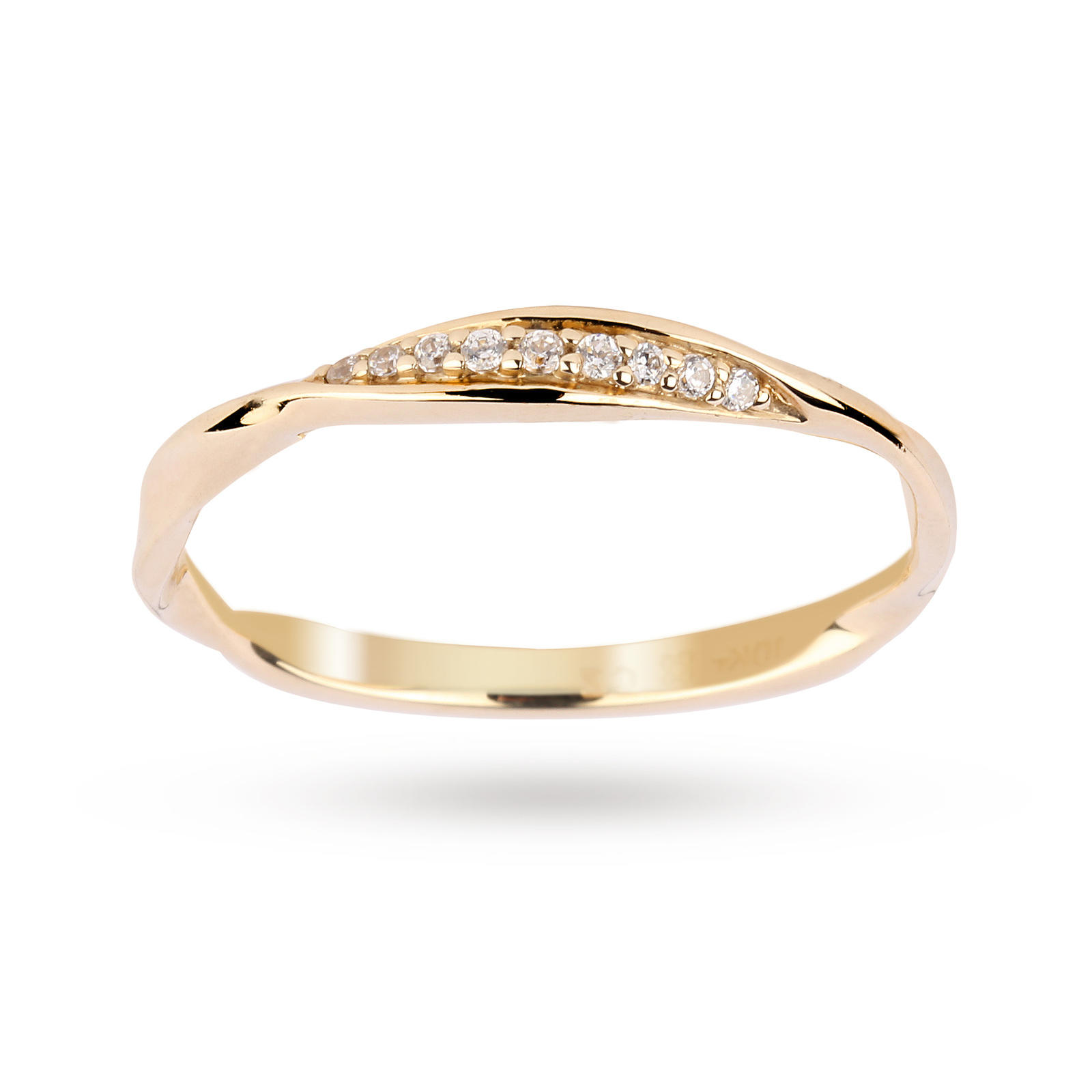 Brilliant Cut Diamond Ring in 9 Carat Yellow Gold - Ring Size N