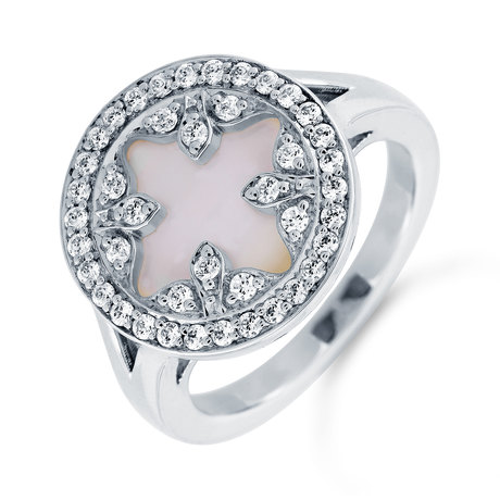 Treasure Empress 18ct White Gold Mother of Pearl and 0.32cttw Diamond Ring