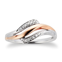 9ct Rose and White Gold  0.06ct Diamond  Twist Ring