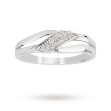 9ct White Gold 0.10ct Diamond Diagonal Eternity Ring