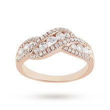 Brilliant Cut 0.75ct Total Weight Diamond Ring In 9ct Rose Gold
