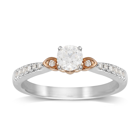 Lotus 18ct White and Rose Gold 0.50cttw Solitaire Ring