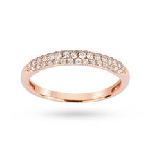 Brilliant Cut 0.33 Carat Total Weight Pave set Diamond Ring in 9 Carat Rose Gold