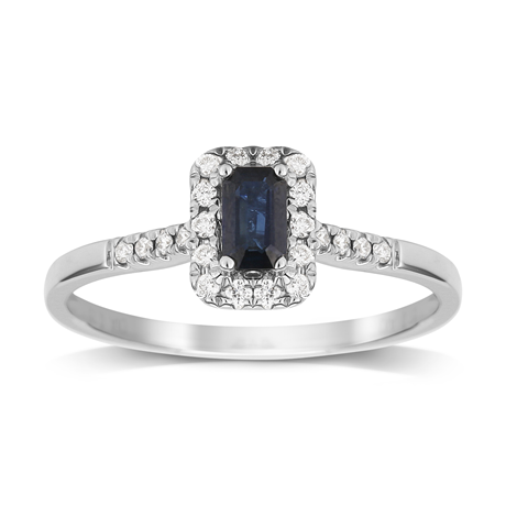 9ct White Gold Sapphire Emerald Cut Halo Ring