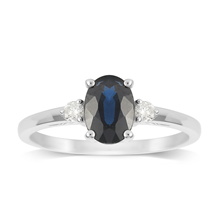 9ct White Gold Sapphire & Diamond 3 Stone Ring