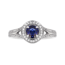 For Her - Cecilia Halo Platinum Sapphire and Diamond Ring - M06110224