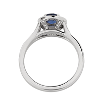 Cecilia Halo Platinum Sapphire and Diamond Ring