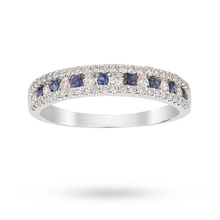 9ct White Gold Sapphire and 0.37cttw Diamond Dress Ring