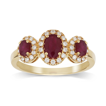 18ct Yellow Gold Ruby & 0.25cttw Diamond Three Stone Ring - M06120029