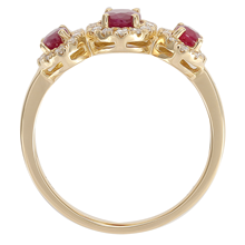 18ct Yellow Gold Ruby & 0.25cttw Diamond Three Stone Ring