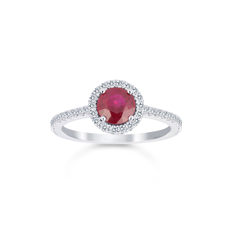 Carrington 18ct White Gold 6mm Ruby and 0.30cttw Diamond Ring