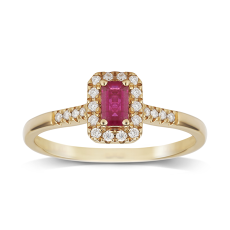 9ct Yellow Gold Ruby Emerald Cut Halo Ring