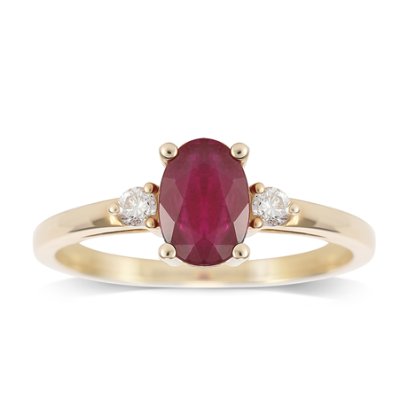 9ct Yellow Gold Ruby & Diamond 3 Stone Ring