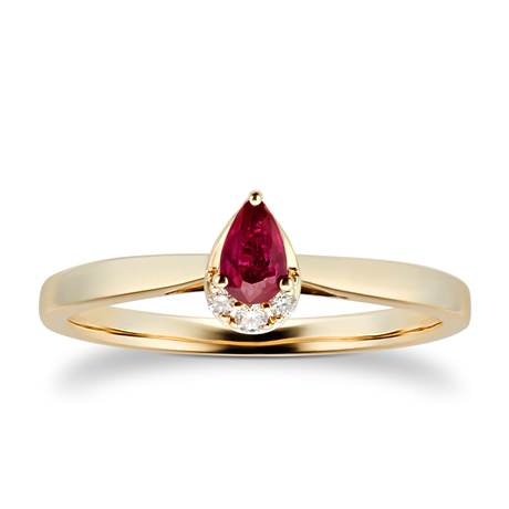 9ct Yellow Gold Pear Cut Ruby & Diamond Ring