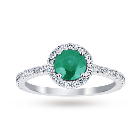 Carrington 18ct White Gold 0.75ct Emerald and 0.30cttw Diamond Ring