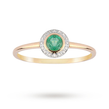 9ct Yellow Gold Emerald and 0.06ct Diamond Ring