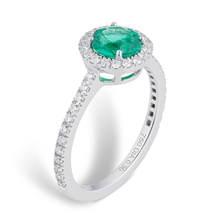Carrington 18ct White Gold 6mm Emerald and 0.30cttw Diamond Ring