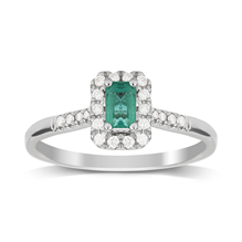 9ct White Gold Emerald & Diamond Halo Ring - M06190037