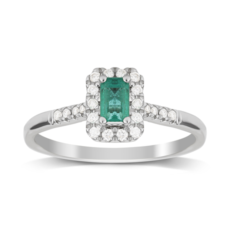 9ct White Gold Emerald & Diamond Halo Ring