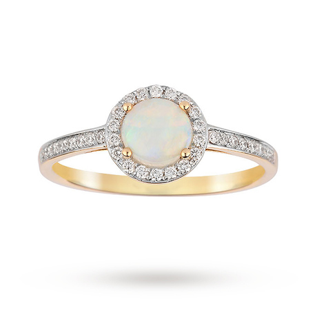 9ct Yellow Gold 5.5mm Opal and Diamond 0.15ct Halo Ring