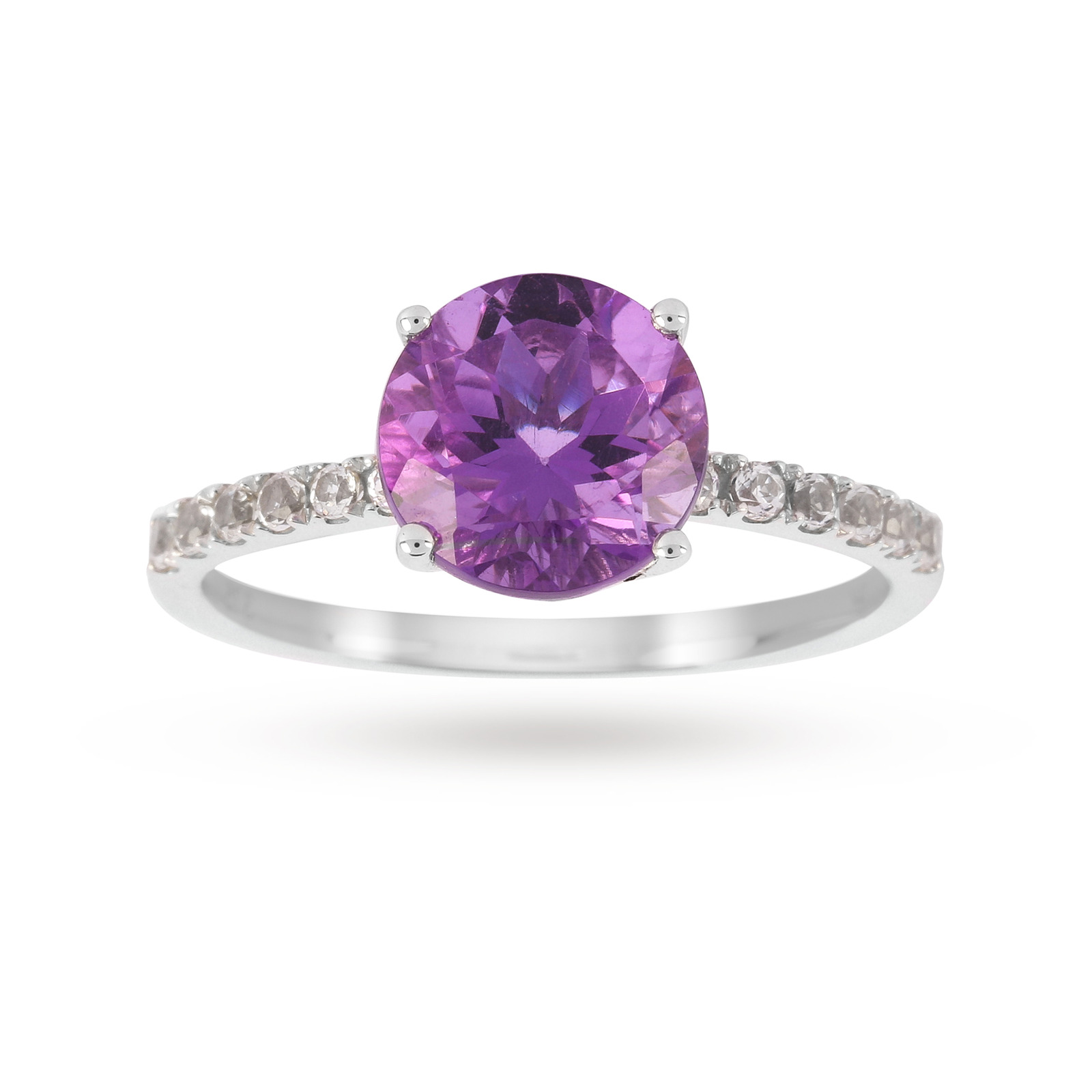 9ct White Gold 8x8mm Amethyst And 0.16ct White Topaz Ring - Ring Size J