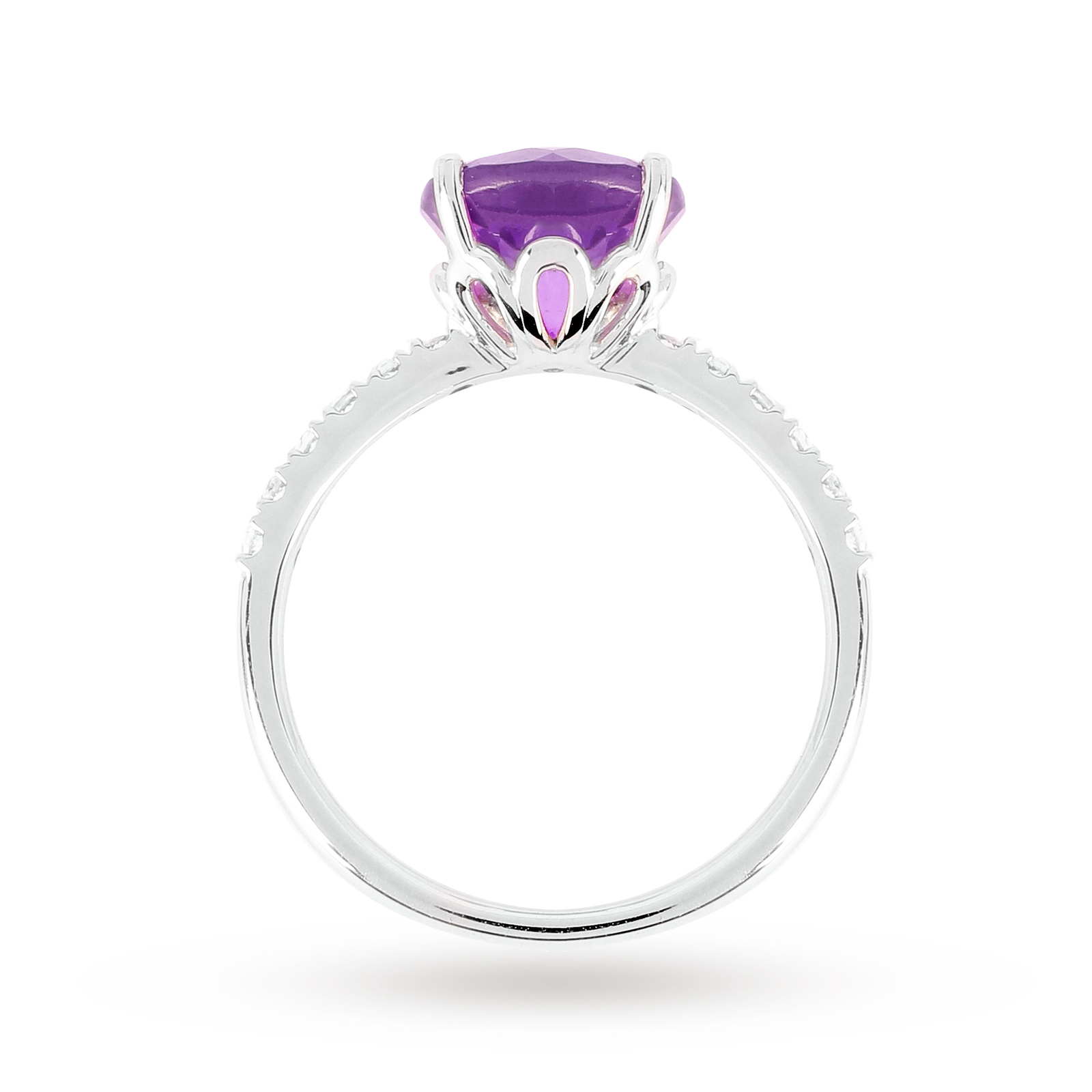 9ct White Gold 8x8mm Amethyst And 0.16ct White Topaz Ring