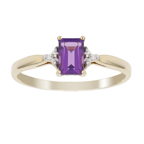 9ct Yellow Gold Amethyst & Diamond Crown Ring