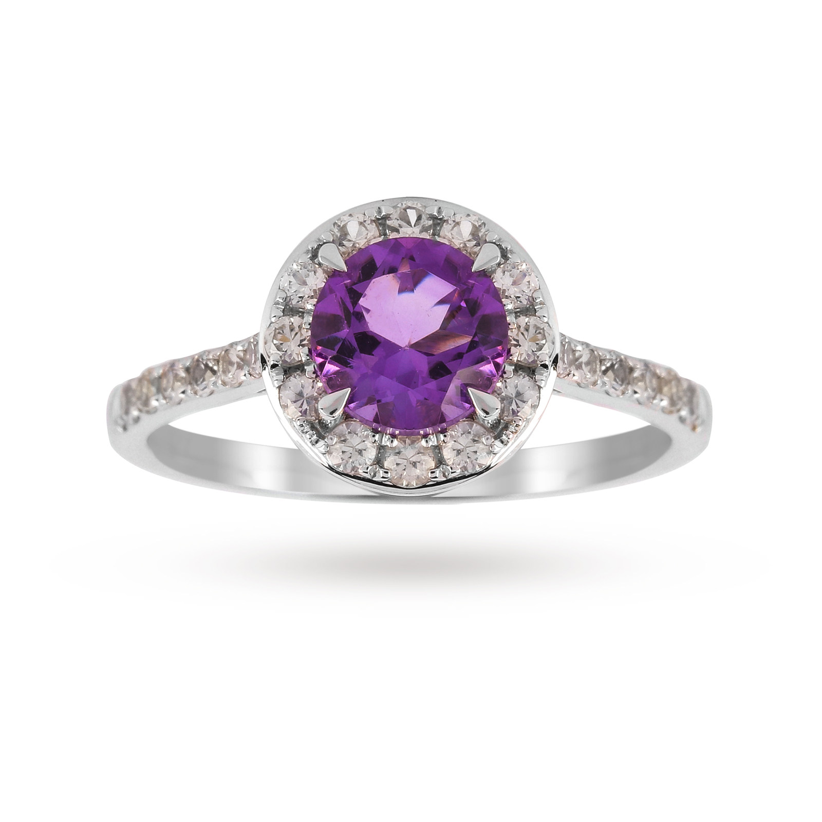 9ct White Gold 6x6mm Amethyst And 0.18ct Diamond Round Halo Ring - Ring Size J