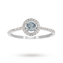 9ct White Gold 0.25ct Aquamarine and 0.13ct Diamond Halo Ring 4x4mm