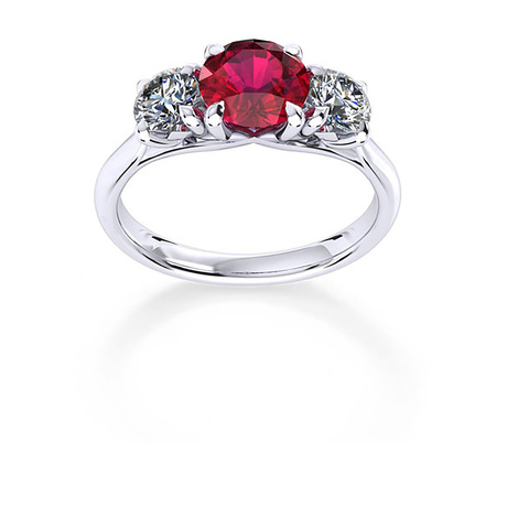 Ena Harkness 18ct White Gold and Three Stone 6mm Ruby Ring