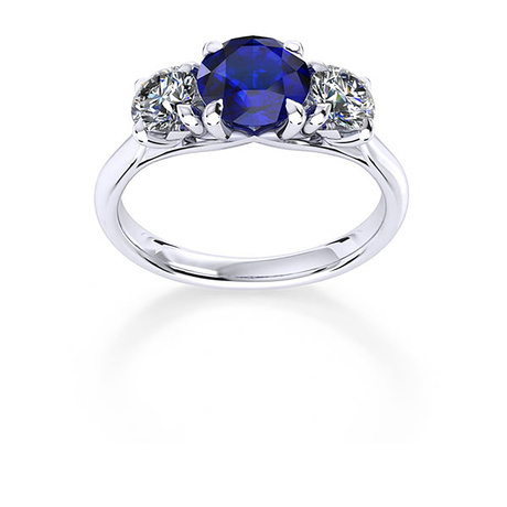Ena Harkness 18ct White Gold and Three Stone 6mm Sapphire Ring