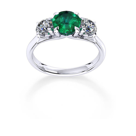 Ena Harkness 18ct White Gold and Three Stone 5mm Emerald Ring