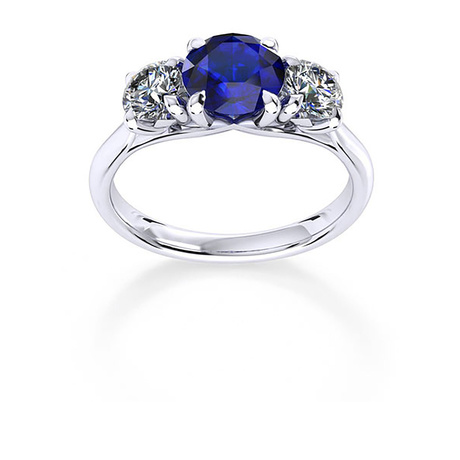 Ena Harkness 18ct White Gold and Three Stone 4mm Sapphire Ring