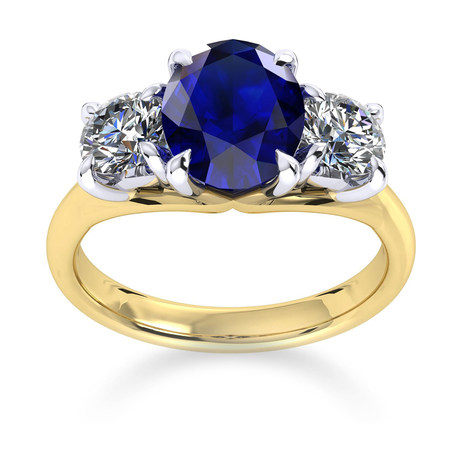 Ena Harkness 18ct Yellow Gold and Three Stone 9x7mm Sapphire Ring