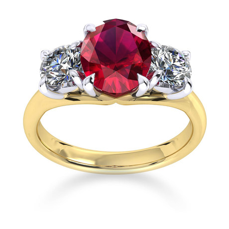 Ena Harkness 18ct Yellow Gold and Three Stone 7x5mm Ruby Ring