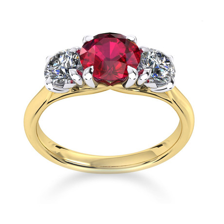 Ena Harkness 18ct Yellow Gold and Three Stone 6mm Ruby Ring