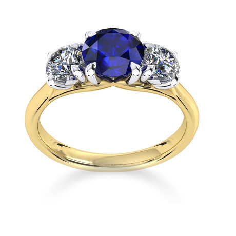 Ena Harkness 18ct Yellow Gold and Three Stone 6mm Sapphire Ring