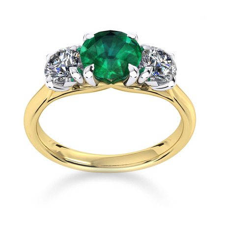 Ena Harkness 18ct Yellow Gold and Three Stone 5mm Emerald Ring