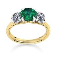 Ena Harkness 18ct Yellow Gold and Three Stone 4mm Emerald Ring