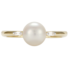 9ct Yellow Gold Pearl & 0.22cttw Diamond Ring