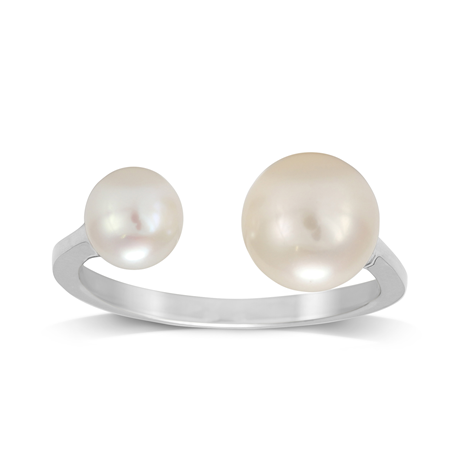 9ct White Gold Double Pearl Open Ring - Medium