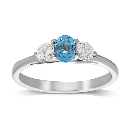 Blue Topaz and Diamond Ring in 18ct White Gold