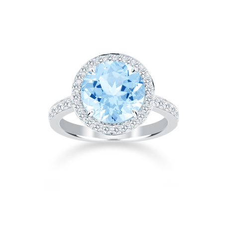 Carrington 18ct White Gold 3.50ct Blue Topaz and 0.45cttw Diamond Ring