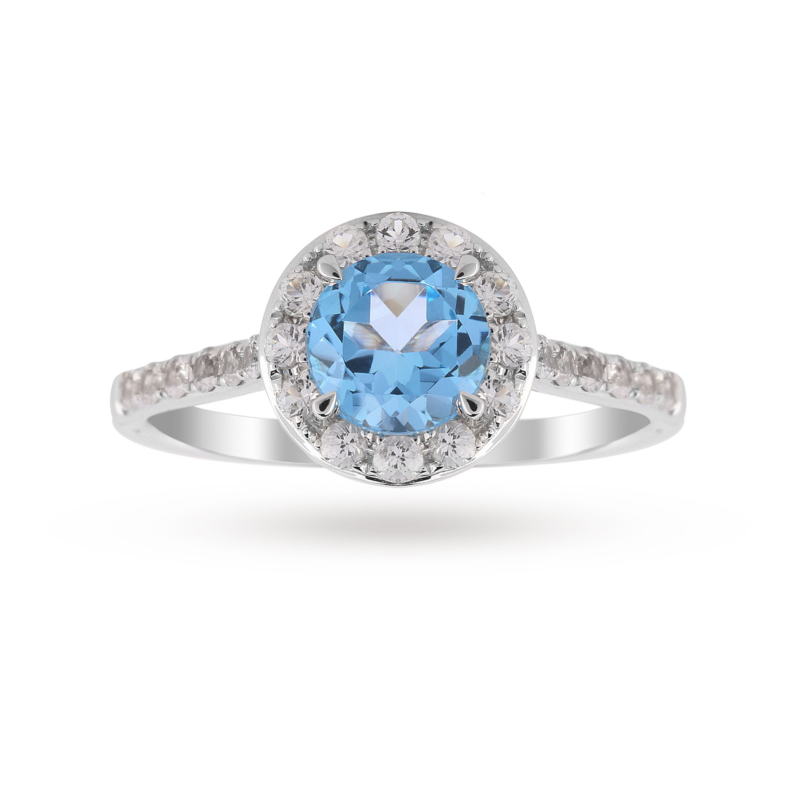 9ct White Gold 6x6mm Blue Topaz And Diamond Round Halo Ring - Ring Size J