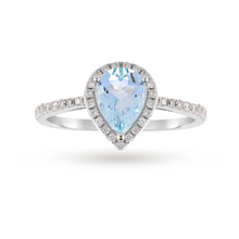 9ct White Gold 6x8mm Aquamarine And 0.11ct Diamond Pear Ring