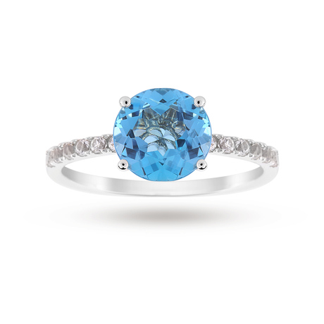 9ct White Gold 8x8mm Blue Topaz And 0.16ct White Topaz Ring