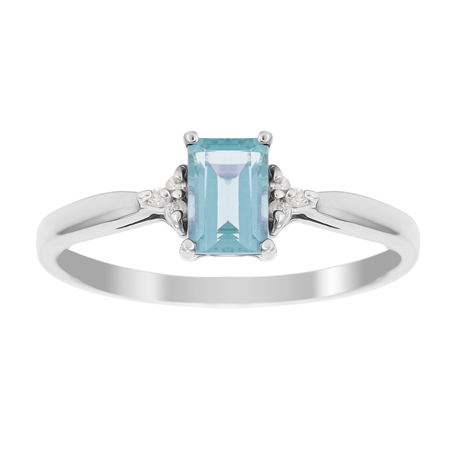 9ct White Gold Blue Topaz & Diamond Crown Ring