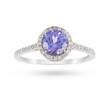 9ct White Gold 6mm Tanzanite And 0.15ct Diamond Round Halo Ring